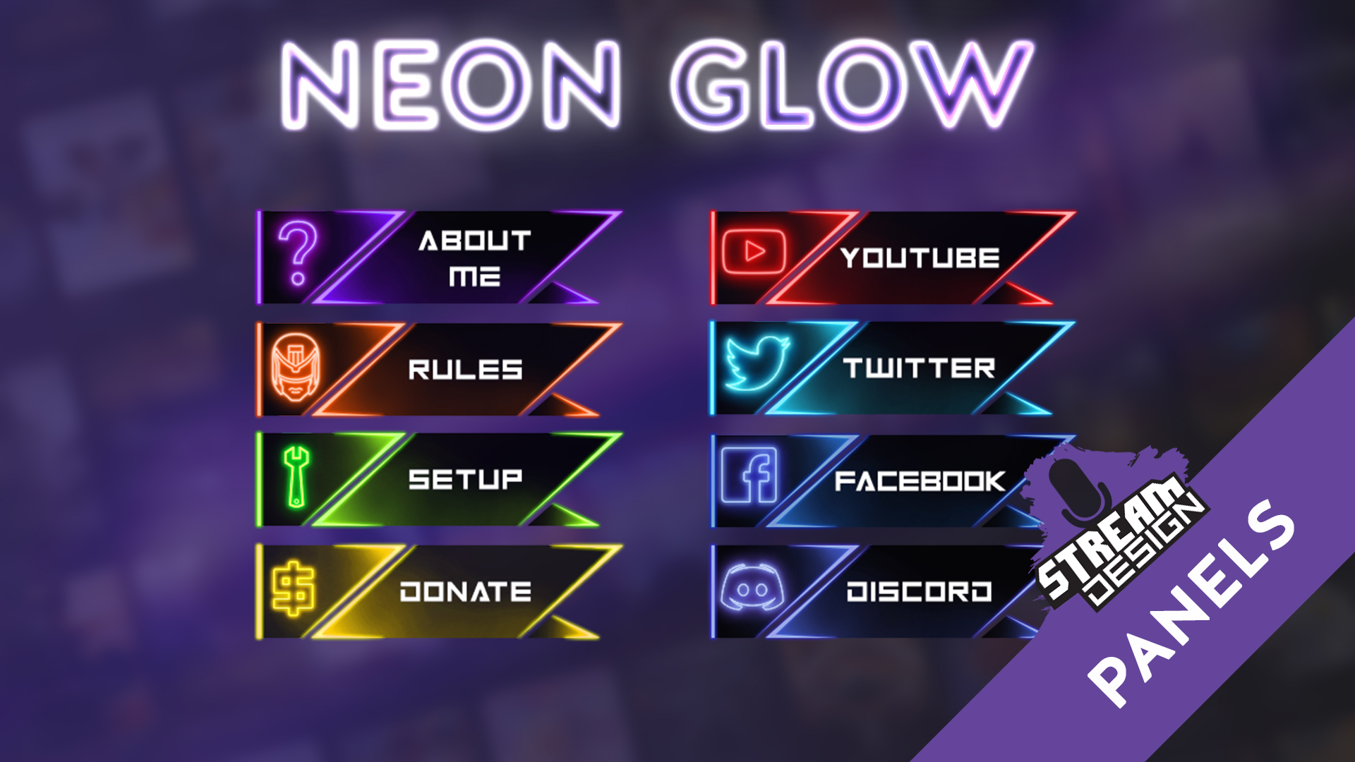 Fortnite Panels For Streaming Neonglow Set Of 8 Panels For Twitch Streamdesign